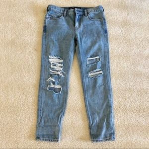 express denim distressed girlfriend jeans